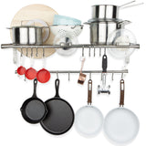 "LYON Kitchen Wall Shelf, Rail and Hook Set - 33.5"" - 20 S Hooks Included - Chrome - Wallniture"