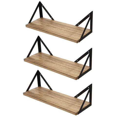 "MINORI Floating Shelves and Wall Bookshelf – 17"" Length – Set of 3 – Natural Burned"