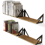 "MINORI Floating Shelves and Wall Bookshelf – 17"" Length – Set of 3, or 4 – Natural Burned - Wallniture"