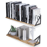 "MINORI 24"" Rustic Floating Shelves, Bookshelf, Geometric Triangle Shelf – Set of 2 – Natural Burned - Wallniture"