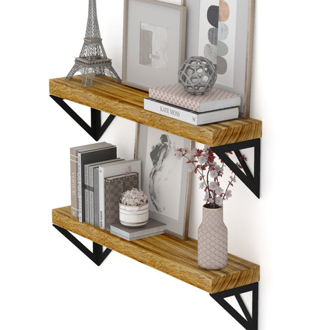 "MINORI 24"" Floating Shelves, Bookshelf, and Geometric Triangle Shelf for Living Room Decor – Set of 2"