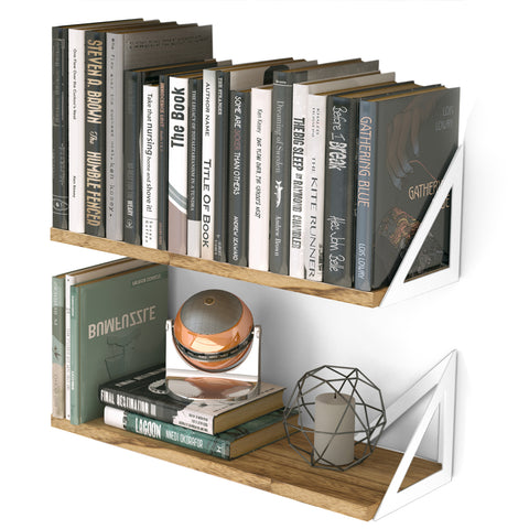 "MINORI 17"" Rustic Floating Shelves, Bookshelf, Geometric Triangle Shelf for Living Room Decor – Set of 2, or 3 – Burned with White Brackets - Wallniture"