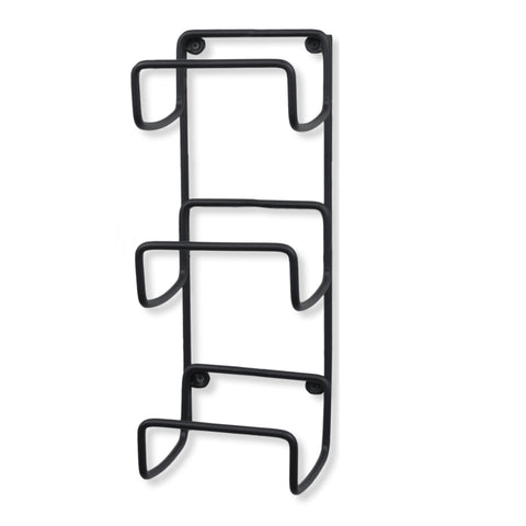 MODUWINE Wall Mount Towel Rack – Straight Style – 3 Sectional – Black - Wallniture