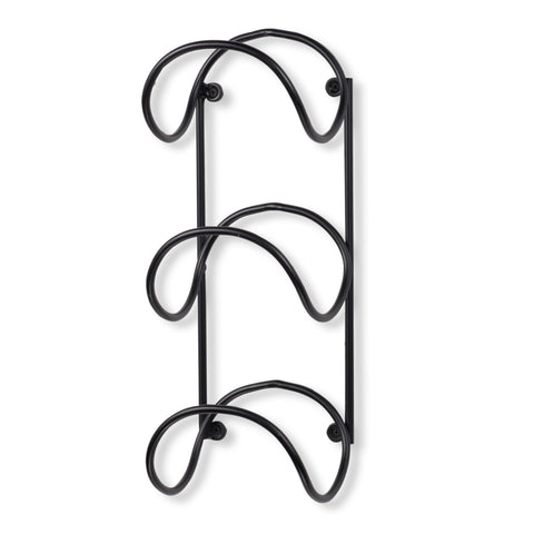 MODUWINE Wall Mount Wine Rack – Round Style – 3 Sectional – Black - Wallniture