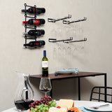 "MODUWINE Wine Glass Rack Wall Mount – 15"" Depth – 4 Pieces – Black - Wallniture"