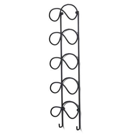 MODUWINE Wall Mounted Towel Rack with Hooks – Curved Style – 5 Sectionals – Black