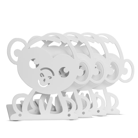 ANIMO Monkey Bookends and Shelves - Set of 4 - White - Wallniture