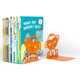 ANIMO Monkey Bookends and Shelves - Set of 4 - Orange - Wallniture