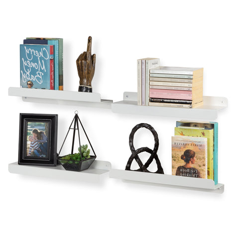 "NAPLES Picture Ledge Floating Shelves and Wall Bookshelf – 17.5"" Length – Set of 2 - White - Wallniture"