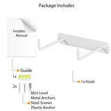 NERA Wall Mounted Toilet Paper Holder with 2 hooks - White - Wallniture