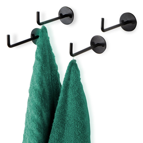 NERA Wall Mount Toilet Paper Holder and Bathroom Organizer Hook – Set of 4 – Black - Wallniture