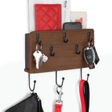 "NORFOLK Coat Rack Entryway Organizer with Key Hooks For Hanging and Mail Holder - 9.5"" Length - Walnut - Wallniture"