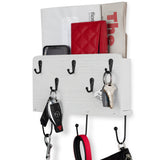 "NORFOLK Coat Rack Entryway Organizer with Key Hooks For Hanging and Mail Holder - 9.5"" Length - White - Wallniture"