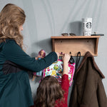 "ENTRO Entryway Organizer Coat Rack with Key Hooks for Hanging - 16.5"" Length -  Brown - Wallniture"