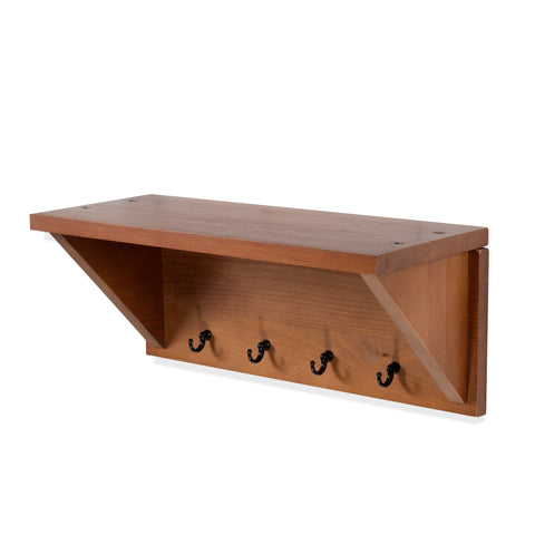 Entro Entryway Organizer Shelf with Hooks - Brown - Wallniture