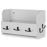 OHIO Key Hook Mail Holder Coat Rack - White