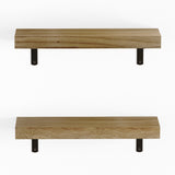 "PALMA Floating Shelves and Wall Bookshelf for Living Room Decor – 17"" Length – Set of 2 – Natural Burned"