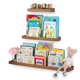 PHILLY Floating Shelves Wall Bookshelf and Nursery Decor - Multisize - Set of 3 - Walnut - Wallniture