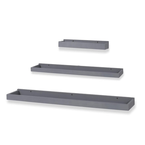 PHILLY Floating Shelves Wall Bookshelf and Nursery Decor - Multisize - Set of 3 - Gray - Wallniture