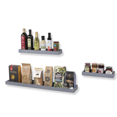 PHILLY Kitchen Floating Shelves and Wall Mount Spice Rack - Multisize - Set of 3 - Gray - Wallniture