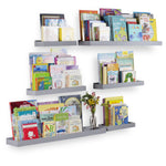 PHILLY Floating Shelves Wall Bookshelf and Nursery Decor  - Multi-Size - 6 Pieces - Gray - Wallniture
