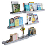 PHILLY Floating Shelves and Wall Trays, Multi-Size, 6 Pieces - Gray - Wallniture
