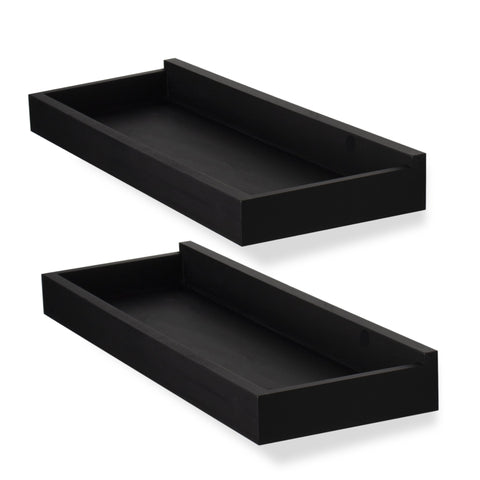 "PHILLY Floating Shelves Wall Bookshelf and Nursery Decor – 23.6"" Length – Set of 2 – Black - Wallniture"