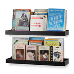 "PHILLY Wall Mount Floating Shelves and Bookshelf – 23.6"" Length – Set of 2 – Black - Wallniture"