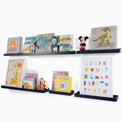 PHILLY Floating Shelves Wall Bookshelf and Nursery Decor - Multisize - Set of 3 - Navy Blue - Wallniture