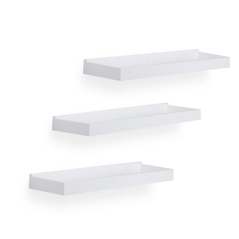 "PHILLY Floating Shelves Wall Bookshelf and Nursery Decor - 31.5"" Length – Set of 3 – White - Wallniture"