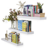 "PHILLY Floating Shelves and Wall Bookshelf – 31.5"" Length – Set of 3 – White - Wallniture"
