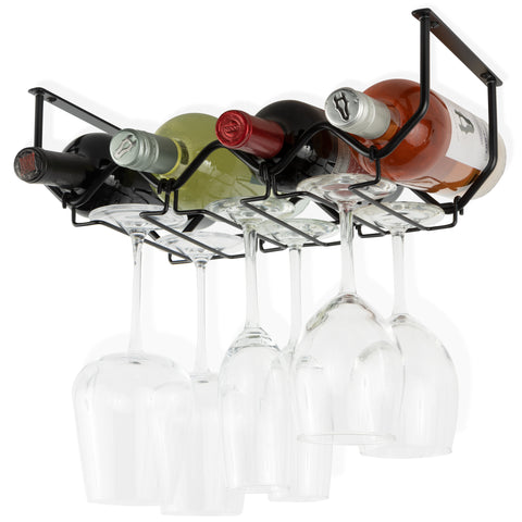 PICCOLA Under Cabinet Bottle and Stemware Rack – 4 Sectional – Black - Wallniture