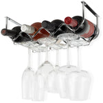 PICCOLA Under Cabinet Bottle and Stemware Rack – 4 Sectional – Chrome - Wallniture