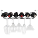 PICCOLA Under Cabinet Stemware and Wine Rack   – 6 Sectional – Black - Wallniture