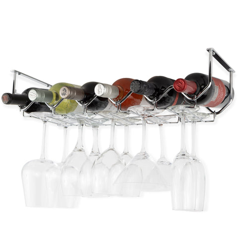 PICCOLA Under Cabinet Bottle and Stemware Rack – 6 Sectional – Chrome - Wallniture