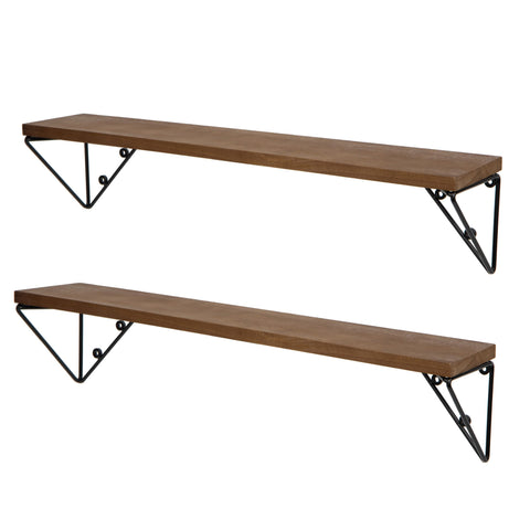 "PIGNA Kitchen Floating Shelves and Spice Rack Wall Mount – 24"" Length – Set of 2 – Walnut - Wallniture"