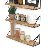 "PIGNA 17"" Kitchen Floating Shelves and Spice Rack Wall Mount – Set of 3 – Natural Burned - Wallniture"