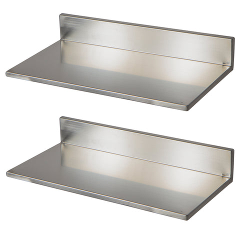 "PLAT Wall Mount Kitchen Floating Shelves – 15.8"", 23.6"", 30.5"" Length – Set of 2 – Stainless Steel - Wallniture"