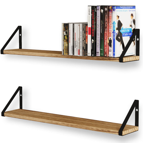 "PONZA Floating Shelves and Wall Bookshelf – 24"" Length – Set of 2, or 3 - Natural Burned - Wallniture"