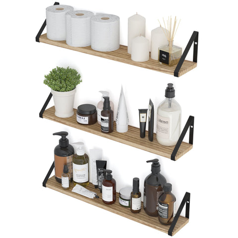"PONZA 24"" Bathroom Shelf for Bathroom Decor, Wall Mount Bathroom Organizer – Set of 3 - Wallniture"