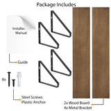 "PONZA Floating Shelves and Wall Bookshelf for Living Room Decor – 24"" Length – Set of 2 - Walnut"