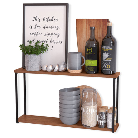 "PORTO Kitchen Floating Shelves and Spice Rack Wall Mount – 24"" Length – 2 Tier – Walnut - Wallniture"