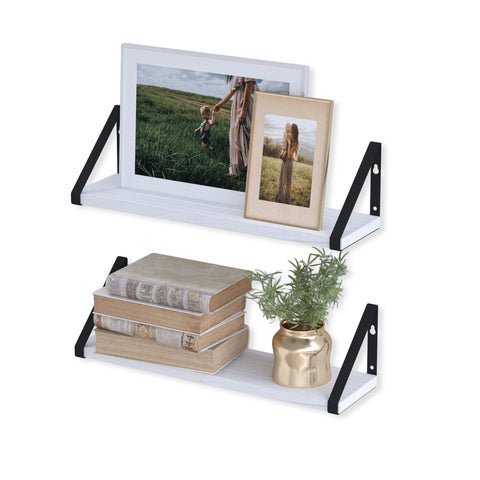 "PONZA Floating Shelves and Wall Bookshelf for Living Room Decor – 17"" Length – Set of 2 - White"