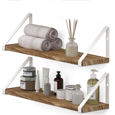 "PONZA 17"" Rustic Bathroom Shelf for Bathroom Decor, Wall Bathroom Organizer – Set of 2, or 3 - Burned with White Brackets"
