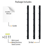 "PUNO Wall Mount Kitchen Utensil Holder with Hooks for Hanging - 12"" Length - Set of 3 - Black, White - Wallniture"