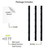 "PUNO Wall Mount Kitchen Utensil Holder with Hooks for Hanging - 12"" Length - Set of 3 - Black, White"