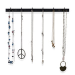 "PUNO Wall Mount Jewelry Organizer With Hooks – 12"" Length – Set of 3 – Black, White - Wallniture"