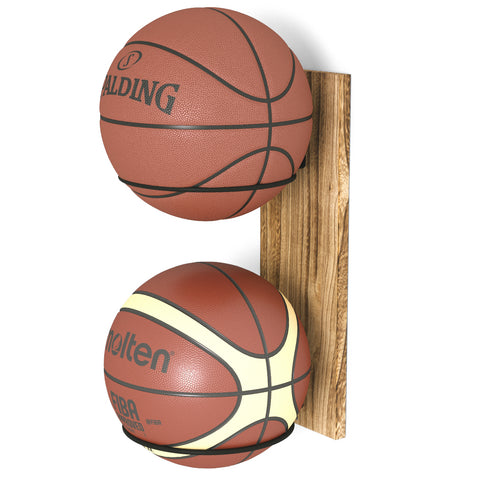 WOODPUNTO Wall Mount Rustic Basketball Holder, Wall Soccer Rack & Volleyball Stand - 2 Sectional