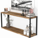 "ROCA 2 Tier 24"" Bathroom Shelf for Bathroom Decor, Wall Bathroom Organizer - Natural Burned"