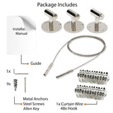 SOHO Wire Picture Hanging Kit for Nursery Decor with Picture Hangers - 48 Clips - 143'' Length - Stainless Steel - Wallniture